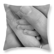 Tiny Fingers In A Big World Throw Pillow by Kelly Hazel