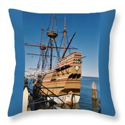 Tiny Mayflower At Plymouth Rock Throw Pillow