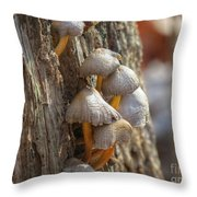 Tiny Mushrooms On The Side Of A Stump Throw Pillow