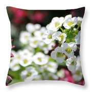 Tiny Pink And Tiny White Flowers 2 Throw Pillow