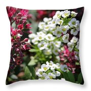 Tiny Pink And Tiny White Flowers Throw Pillow