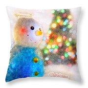 Tiny Snowman Christmas Card Throw Pillow