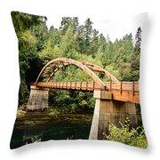 Tioga Bridge Over North Umpqua River Throw Pillow