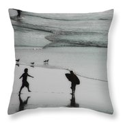 Tip Toe Through The Surf Throw Pillow