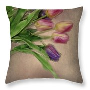 Tip Toe Thru The Tulips Throw Pillow by Mary Timman