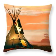 Tipi Or Tepee Monument Valley Throw Pillow