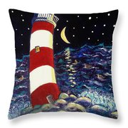 Tipsy Lighthouse With White Cat Throw Pillow