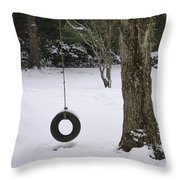 Tire Swing In Winter Throw Pillow