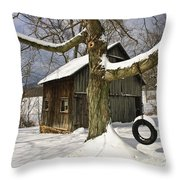 Tire Swing Shed Throw Pillow by Timothy Flanigan