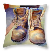 Tired Boots Throw Pillow