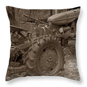 Tired Tractor...... Sepia Throw Pillow