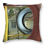Tires In An Orphanage Throw Pillow