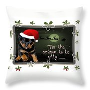 'tis The Season To Be Jolly Holiday Greetings Throw Pillow