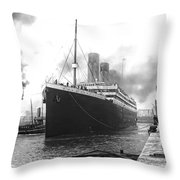 Titanic In Southampton Harbor Throw Pillow