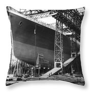 Titanic Under Construction Throw Pillow
