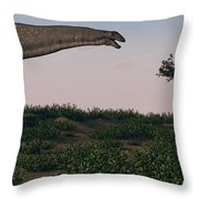Titanosaurus Standing Grazing In Swamp Throw Pillow