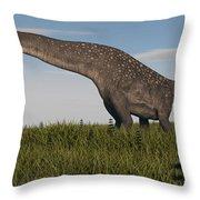 Titanosaurus Standing In Swamp Throw Pillow