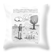 Title: Ecofriendliness Rebuffed. A Man Walks Throw Pillow