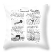 Title: Now At The Farmer's Market Four Products Throw Pillow
