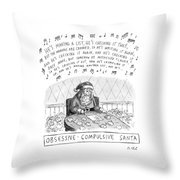 Title: Obsessive-compulsive Santa. Santa Is Shown Throw Pillow