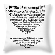Title Page Wine Book, 1568 Throw Pillow
