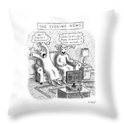 Title: The Evening News. A Person Wearing Throw Pillow