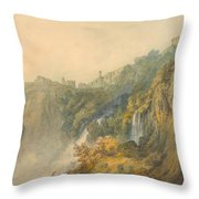 Tivoli With The Temple Of The Sybil And The Cascades Throw Pillow