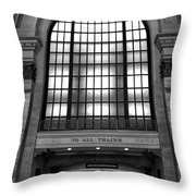 To All Trains Chicago Union Station Throw Pillow
