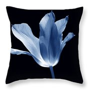To The Light Tulip Flower In Blue Throw Pillow
