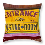 To The Tasting Room Throw Pillow