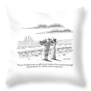To You, O Mighty Ocean, We Offer Up The Remains Throw Pillow