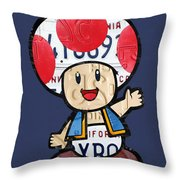 Toad From Mario Brothers Nintendo Original Vintage Recycled License Plate Art Portrait Throw Pillow