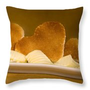 Toast Hearts With Butter Throw Pillow