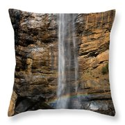 Toccoa Falls With Rainbow Throw Pillow