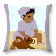 Toddler And Teddy Throw Pillow