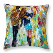 Together In The Rain  Throw Pillow