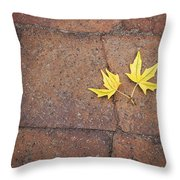 Together Yellow Maple Leaves Throw Pillow