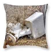 Toilet In The Weeds Throw Pillow