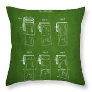 Toilet Paper Roll Patent From 1891 - Green Throw Pillow