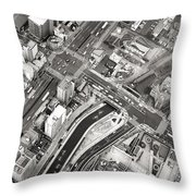Tokyo Intersection Black And White Throw Pillow