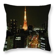 Tokyo Tower At Night Throw Pillow
