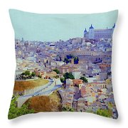 Toledo Spain In Blue Throw Pillow