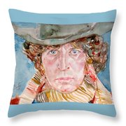 Tom Baker Doctor Who Watercolor Portrait Throw Pillow