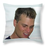 Tom Brady Throw Pillow by Mike Martin
