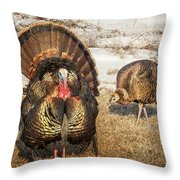Tom Turkey And Hen Throw Pillow