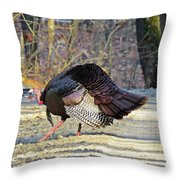 Tom Turkey Walking Throw Pillow