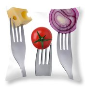 Tomato Cheese And Onion On Forks Against White Background Throw Pillow
