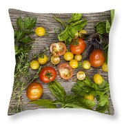 Tomatoes And Herbs Throw Pillow by Elena Elisseeva