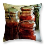Tomatoes And String Beans In Canning Jars Throw Pillow