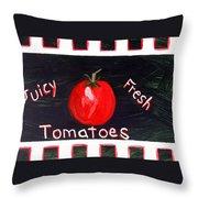 Tomatoes Market Sign Throw Pillow